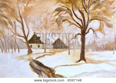 Winter Oil Painting On Canvas