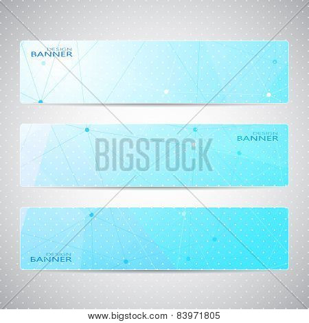Collection horizontal banners design. Molecule and communication background. Vector illustration