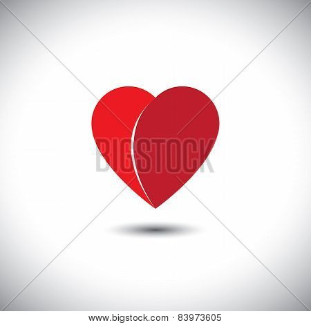 Simple Red Heart Love Icon With 2 Parts - Vector Icon