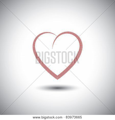 Simple Heart Icon With Lines Representing Love - Vector Icon.
