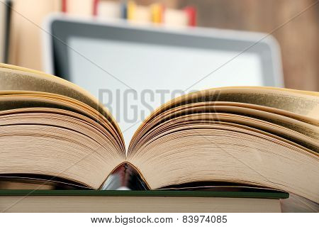 Composition With Books And Tablet Computer On The Table