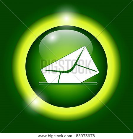 Envelope Mail Symbol On Green Background