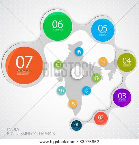 India Map and Elements Infographic. Vector illustration