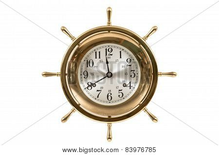 Old Nautical Clock Isolated On White