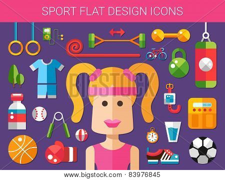 Set of modern flat design sport, fitness and healthy lifestyle i