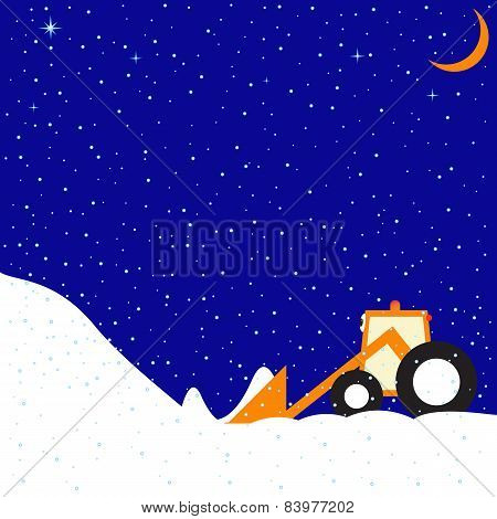 Winter Landscape With Little Funny Tractor