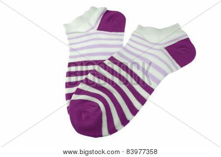 Pair Purple And White Striped Ladies Socks
