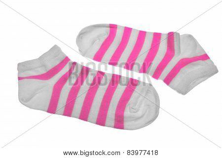 Pair Pink And White Striped Ladies Socks