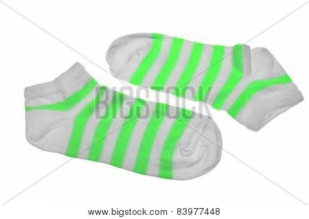 Pair Neon Green  And White Striped Ladies Socks