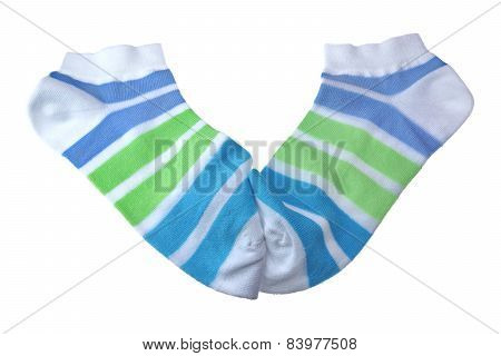 Pair Green And Blue Striped Ladies Socks