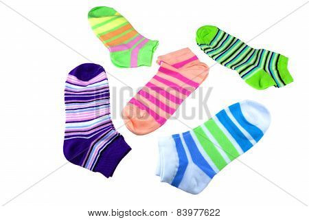 Many Pairs Colorful Striped Socks Isolated On White