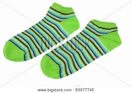 Pair Green, Black, Blue And White Striped Ladies Socks