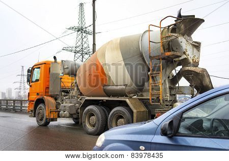 Moscow March 01: Concrete Mixer Truck At The Moscow Automobile Ring Road (mkad)