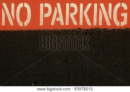 Red No Parking Curb And Street