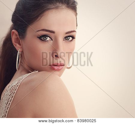Perfect Woman Face Looking With Mystery Green Eyes. Closeup Art Portrait
