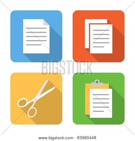 Flat Copy, Cut And Paste Icons With Long Shadows. Vector Illustration
