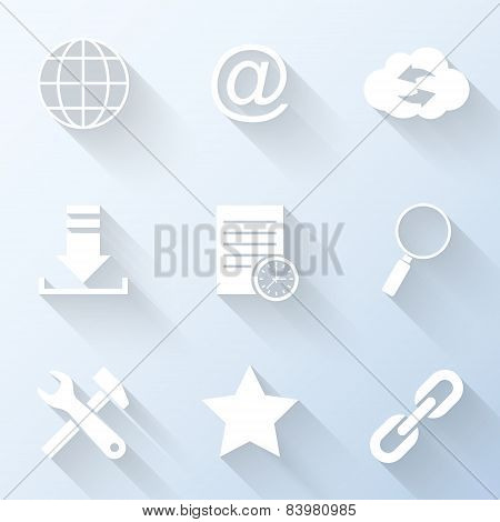 Flat Internet Icons With Long Shadows. Vector Illustration