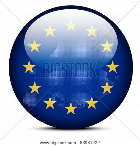 Map With Dot Pattern On Flag Button Of Continent Of Europe