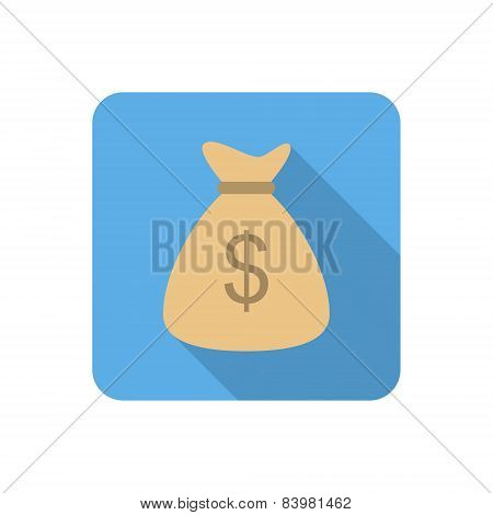 Flat Money Bag Icon With Long Shadow. Vector Illustration