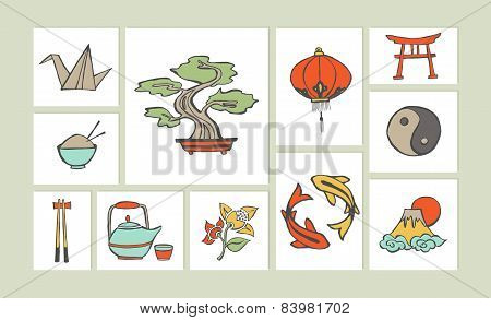 Chinese Hand Drawn Illustration Icon Set