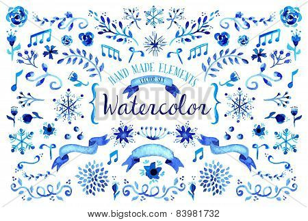 Watercolor Floral Set Illustration