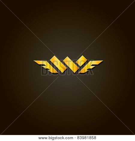 Letter W. Vector gold font. Template for company logo. Design element or icon.