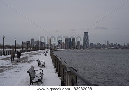 Winter embankment to skyline