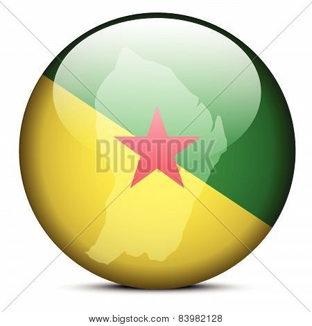 Map On Flag Button Of French Guiana
