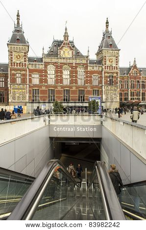 Central Station On February 07, 2015 In Amsterdam. Central Station Is The Central Railway Station Of