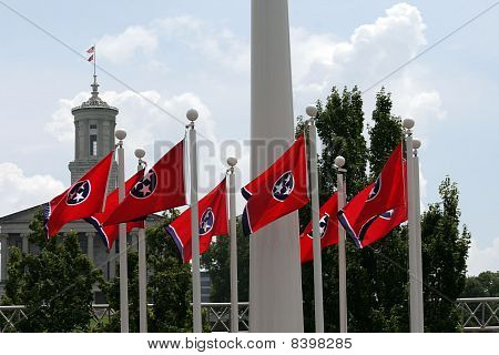 Tennessee Capitol and Flags
