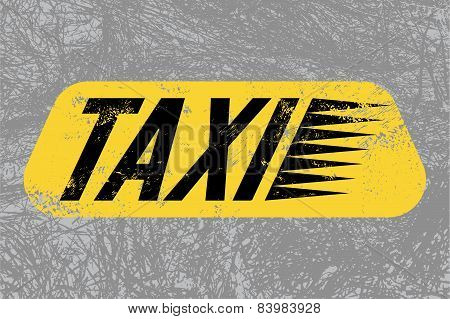 Taxi. Typographic retro grunge poster with textural background. Vector illustration.