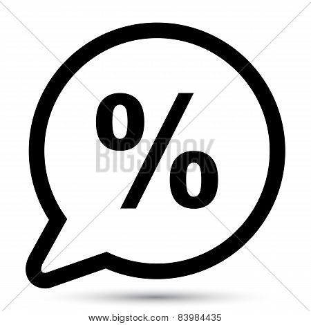 Vector bubble with percent icon
