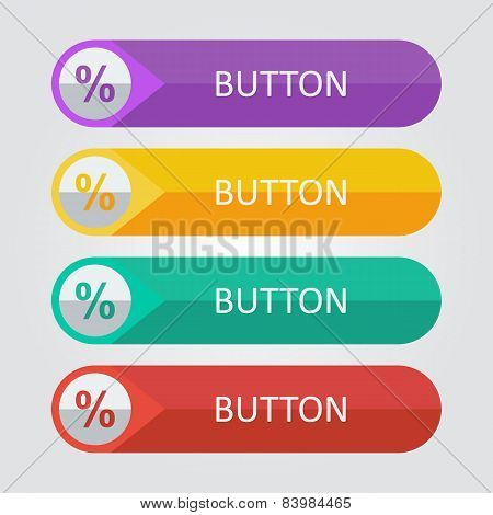 Vector flat buttons with percentage icon