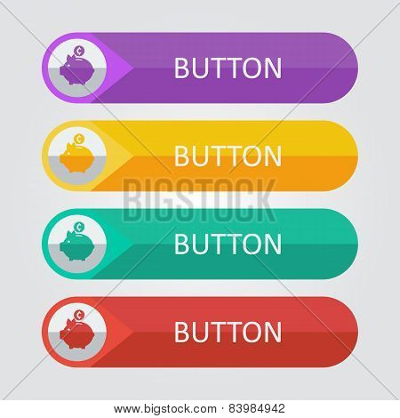 Vector flat buttons with piggy bank icon