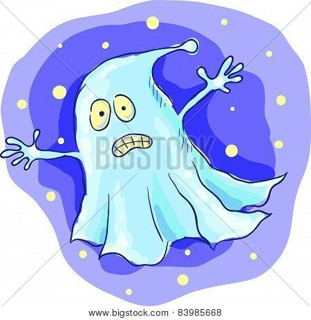 Cartoon ghost at night