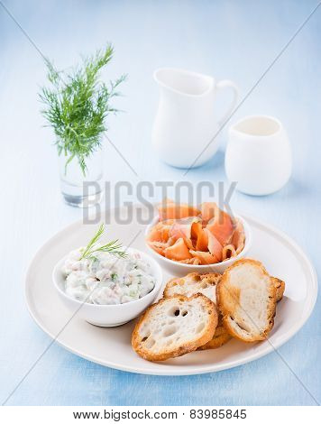 Soft Cheese Spread, Smoked Wild Salmon And Baguette