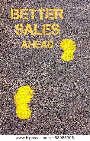 Yellow Footsteps On Sidewalk Towards Better Sales Ahead Message