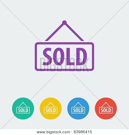 Vector sold flat circle icon