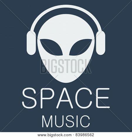 Vector alien in headphones on blue background