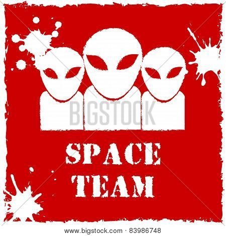 Vector alien space team logo on red background