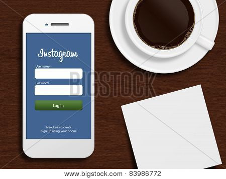 Gdansk, Poland - October 24, 2014: Mobile Phone With Instagram Login Page Lying On Desk With Coffee