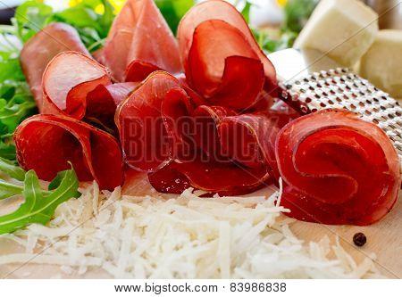 Bresaola With Cheese Pecorino And Arugula