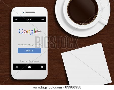 Gdansk, Poland - October 24, 2014: Mobile Phone With Google Plus Login Page Lying On Desk With Coffe