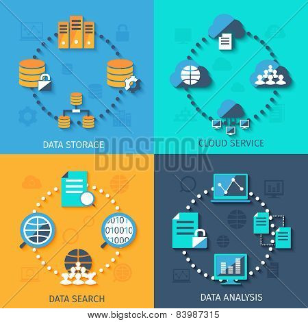 Big data 4 flat icons composition