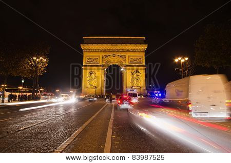 PARIS, FRANCE - 29 NOVEMBER, 2014: Arch of Triumph of the Star in Paris (France) at night