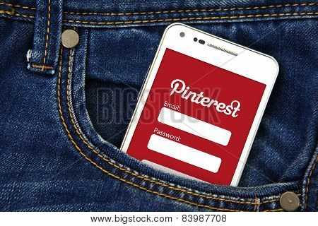 Gdansk -  Poland, September 16, 2014. Mobile Phone In The Pocket With Pinterest Login Page.