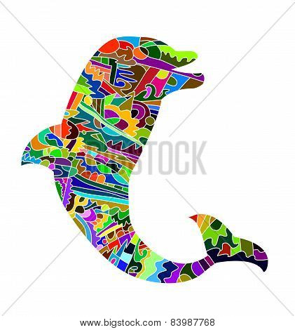 abstract silhouette of dolphin