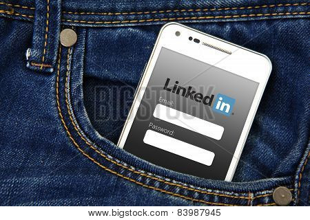 Gdansk -  Poland, September 16, 2014. Mobile Phone In The Pocket With Linkedin Login Page.