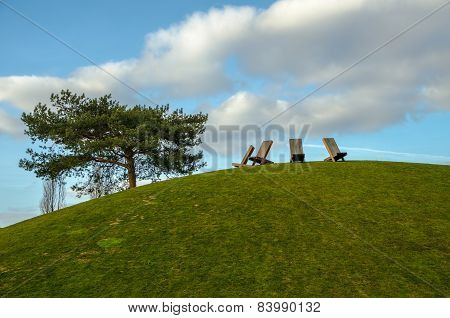 Chairs on top of the hill
