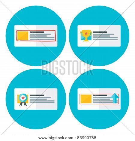 Advertising Flat Circle Icons
